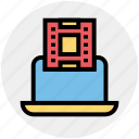 cinema, cinema film reel, director laptop, film reel, laptop, movie film reel, reel icon