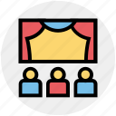 audience, cinema, cinema hall, movie theater, stage, theater, theater stage icon