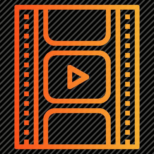 entertainment, film, photograms, strips icon