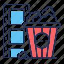 film strip, cinema, movie, pop corn