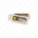 cartoon, cinema, entertainment, film, movie, theater, ticket icon