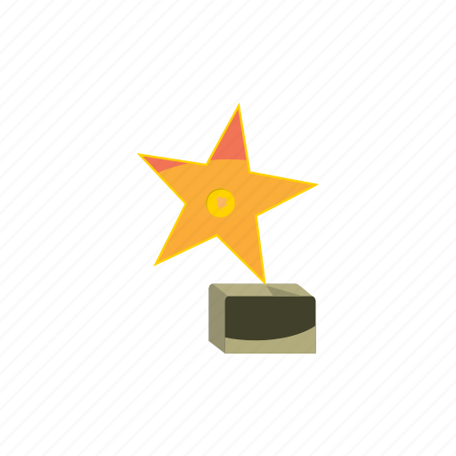award, cartoon, decoration, emblem, gold, star, success icon