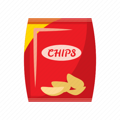 cartoon, chips, food, packing, potato, snack, unhealthy icon