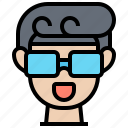 3d, glasses, happy, man, watching icon