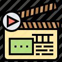cinematography, clapperboard, filmmaker, movie, slate icon