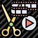 cut, director, editing, film, footage icon