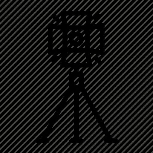 cinema, film, light, movie, set, stage, tripod icon