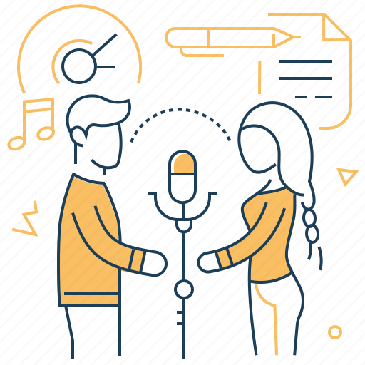 Duet, microphone, music, singing icon - Download on Iconfinder