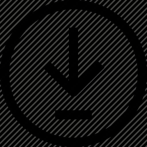 arrow, circle, down, download, navigation icon