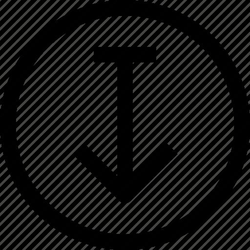 arrow, arrows, circle, down, download icon
