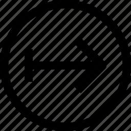 arrow, arrows, circle, move, right icon