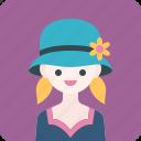 avatar, flower, girl, hat, profile, woman icon