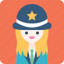 avatar, girl, hat, police, profile, suit, woman icon