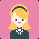 avatar, girl, headband, profile, woman icon