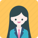avatar, girl, officer, profile, student, suit, woman icon