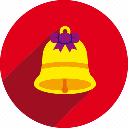 bell, christmas, circle, ribbon icon