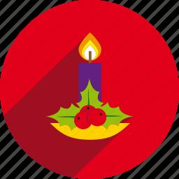 candle, christmas, circle, decoration, holiday, xmas icon