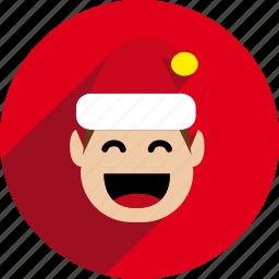 christmas, circle, elf, holiday, santa, santa helper, xmas icon