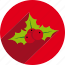 christmas, circle, mistletoe, nature, vegetal, xmas icon