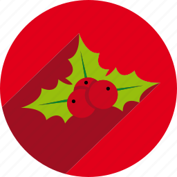 christmas, circle, mistletoe, nature, vegetal, xmas icon