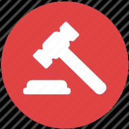 decision, hammer, justice, law, legal gavel, verdict icon