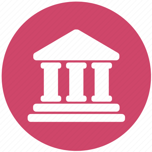 bank, building, court, courthouse, justice, law icon