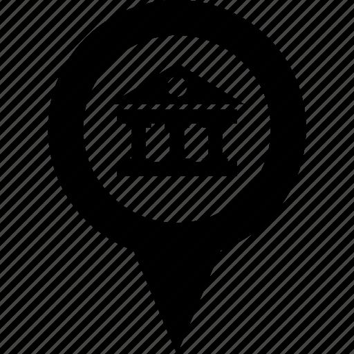 address, bank, building, circle, destination, map, pin icon