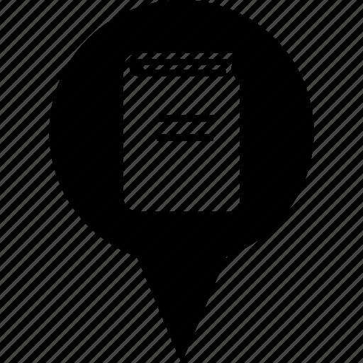 address, bookstore, circle, destination, library, location, map pin icon