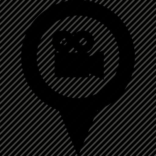 address, cine, cinema, circle, destination, map, pin icon