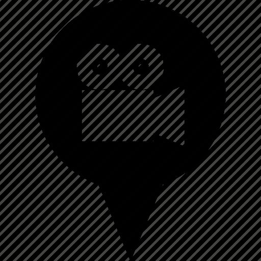 address, cine, cinema, circle, destination, location, map pin icon