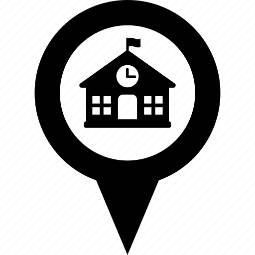 address, circle, destination, map, pin, school icon