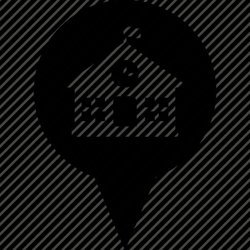 address, circle, destination, location, map pin, school icon