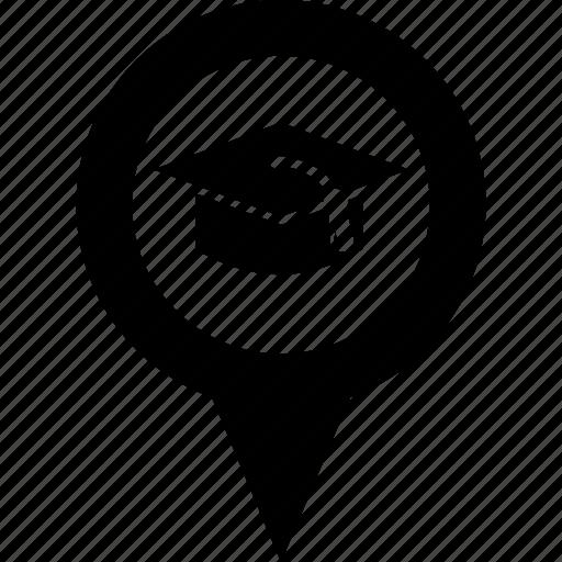 address, circle, college, destination, map, pin, university icon