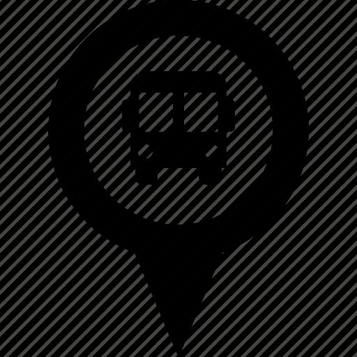 adress, bus, circle, destination, map, pin, stop icon