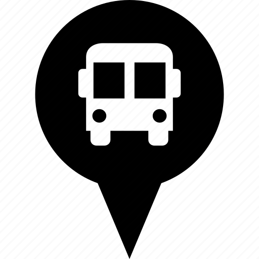 adress, bus, circle, destination, map pin, stop icon