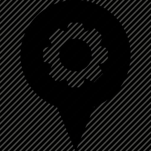 adress, circle, destination, gear, job, location, work icon