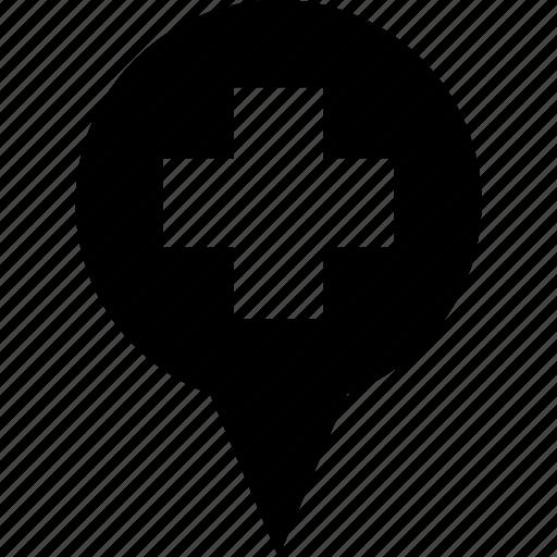 adress, circle, destination, hospital, location, map pin icon