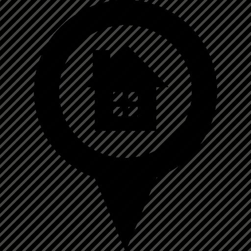 adress, circle, destination, home, house, map, pin icon