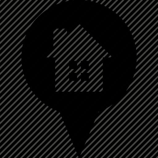adress, circle, destination, home, house, location icon