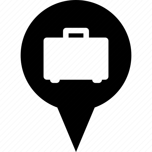 adress, business, circle, destination, job, map pin, work icon