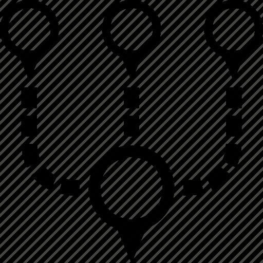 address, circle, destination, map, multiple, paths, pin icon