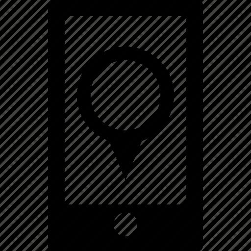 address, circle, destination, gps, map, pin, smartphone icon