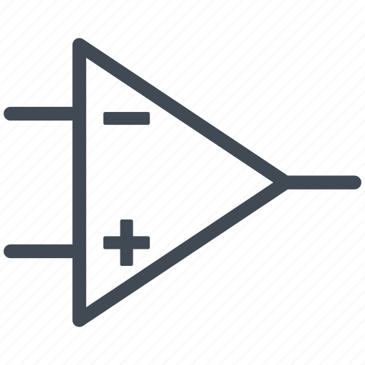 amplifier, circuit, diagram, electric, electronic, operational amplifier icon