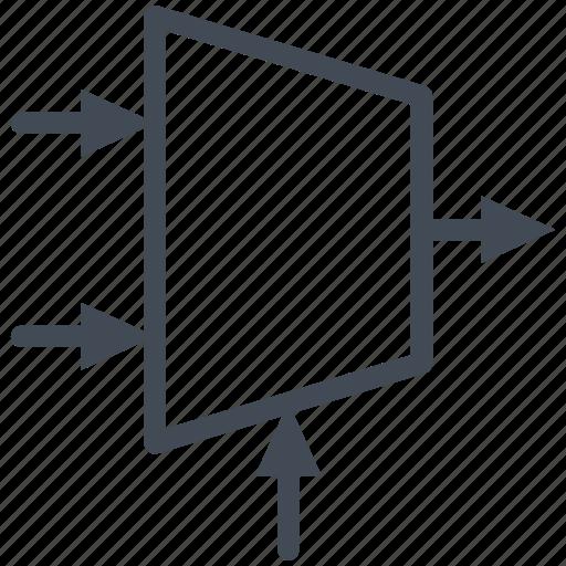 circuit, diagram, electric, electronic, logic, multiplexer icon