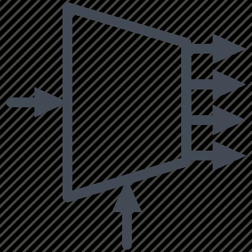 circuit, demultiplexer, diagram, electric, electronic, logic icon