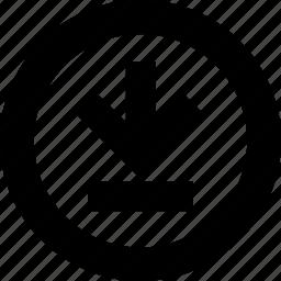 arrow, circle, data, download, file icon