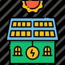 green, house, sun, sustainable icon