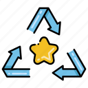arrows, materials, recyclable, star icon