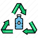 bottle, plastic, recycled, water icon