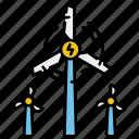 power, sustainable, turbines, wind icon
